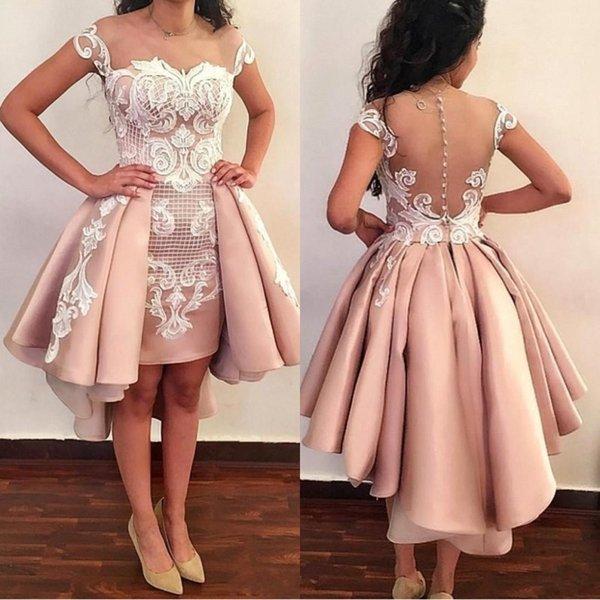 Sheer Mesh Top vestidos de fiesta 2018 apliques de encaje sobre faldas Formal alto bajo de fiesta pura espalda vestidos cortos de graduación con botones BA8007