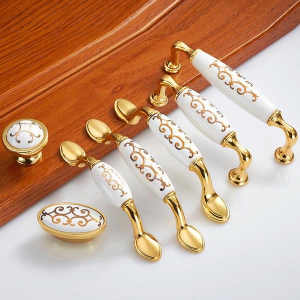 Gold Ceramic Handle Drawer Handle Simple European-style Cupboard Door Handle Modern Idyllic