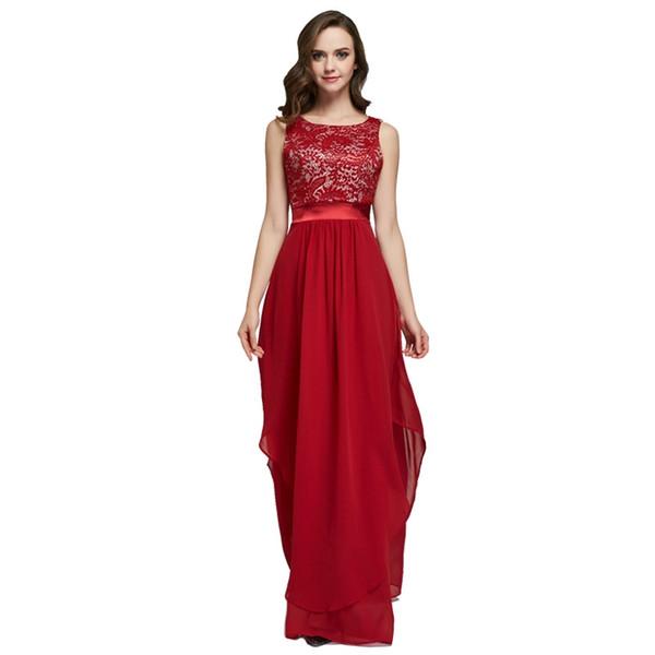 Maxy Dress New Elegant Sleeveless Chiffon Lace Stitching Floor-length Women Party Dresses Prom Evening Red Long Dress Clothing Evening Dress