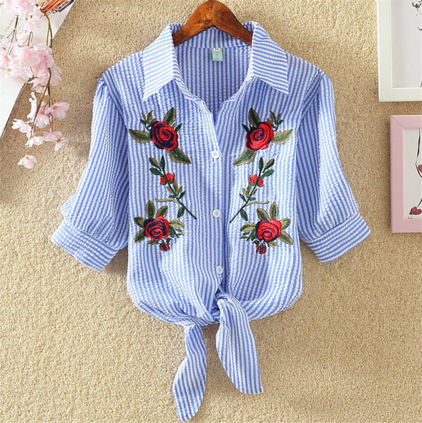 top popular Women Blouse Embroidery Shirts 2018 Korean Short Sleeve Flower Embroidery Blouse Lady Summer Top Plus Size Female Clothes 2021