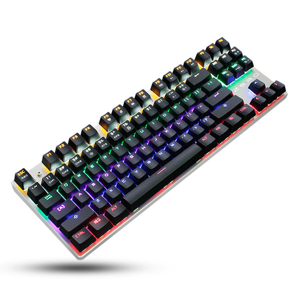 Backlight Mechanical Keyboard Blue Switch 87/104 Keys USB Metal Panel Anti-ghosting Professional Gaming Keyboard Russian sticker