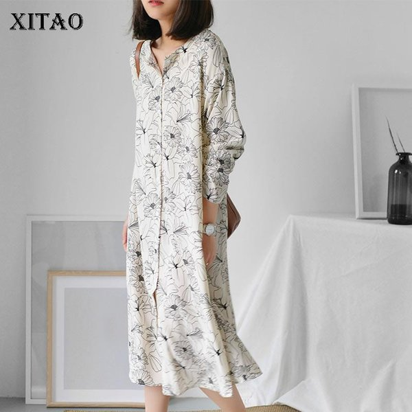 [XITAO] Korea Vintage 2018 Spring Women Floral Pattern V-Neck Full Sleeve Dress Female Mid-Calf Single Breasted Dress XWW3711