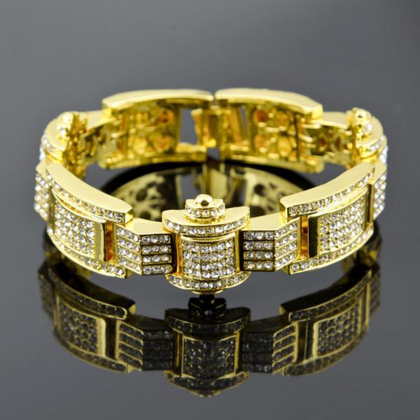 gold black silver plated men hip hop iced out bling 3cm width with 23cm long link chain bracelet cool bracelets