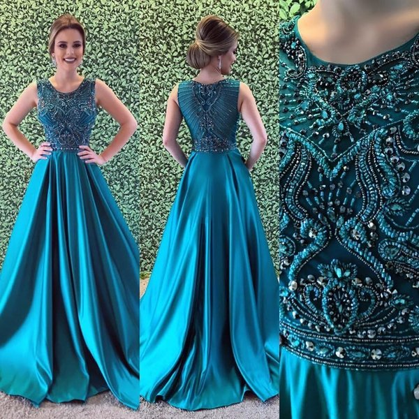 2019 New Hunter Green Prom Kleider Jewel Neck Bling Kristall Perlen Satin Lange Sweep Zug Plus Größe Benutzerdefinierte Party Dress Formal Abendkleider