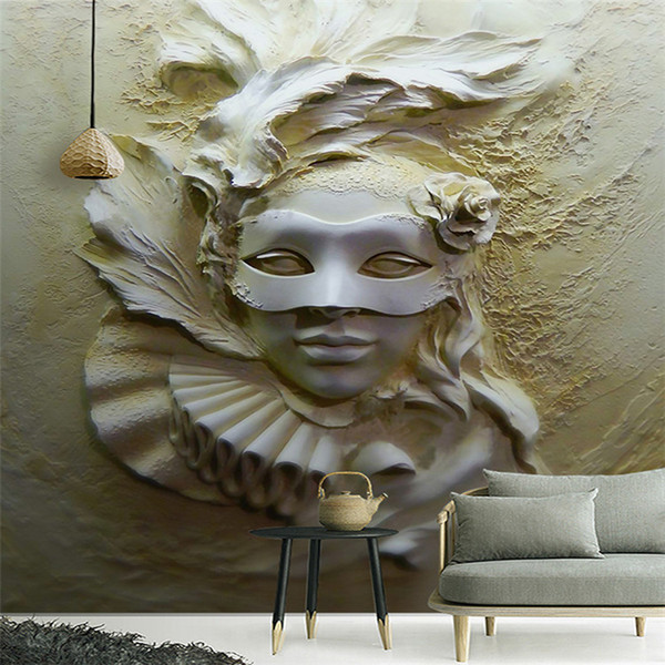 Custom Mural Wallpaper 3D Stereoscopic Embossed Masked Beauty Abstract Art Wall Painting Living Room Entrance Bedroom Wallpaper