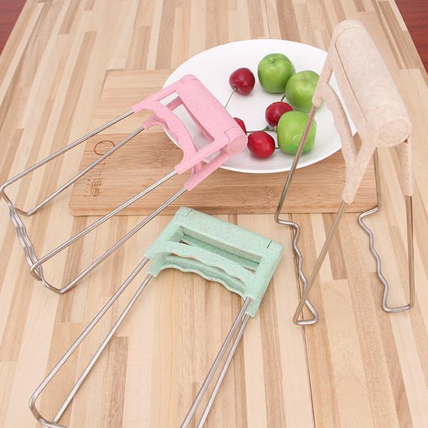 Pinza para platos de cocina, elevador y recuperador de platos calientes plegables, pinzas para pinzas de tazón Tenedor de vajilla Pinzas de sujeción - Acero inoxidable