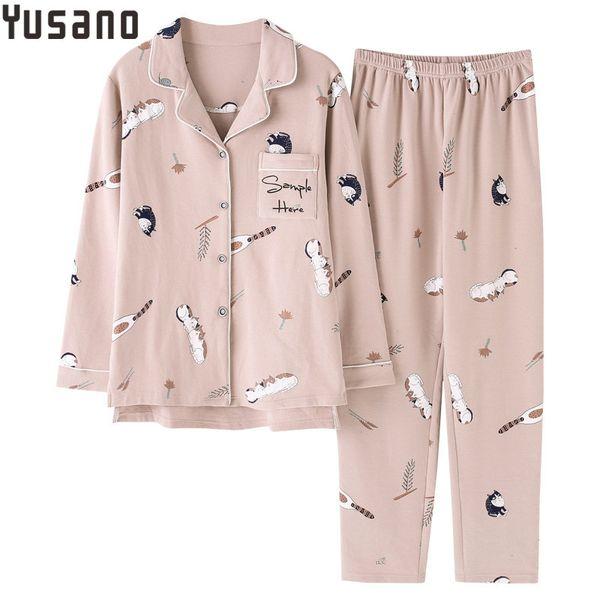Yusano 2018 New Pajama Set Cotton Autumn Winter Long Sleeve Long Pant V-Neck Home Clothes Women's Sleepwear Nightwear M-XXL