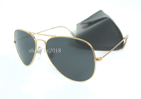 1Pair Classic Pilot Sunglasses For Mens Womens Metal Sun Glasses Eyewear Gold Black 58mm 62mm Glass Lenses With Black Case