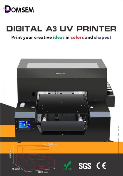 China Original factory Automatic Multicolor A3 UV Flatbed Printer with head UV LED system LCD touch screen