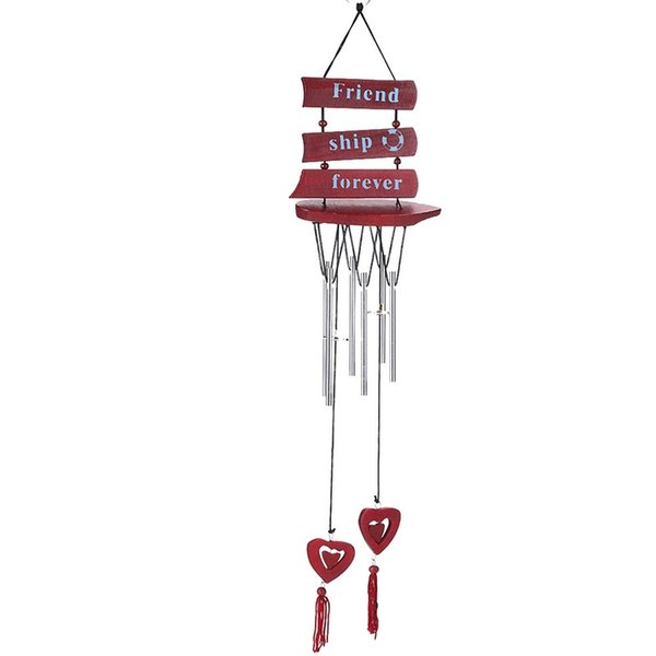 Wooden Sailboat Style Design Wind Chime Bell With Silvery Copper Pipe Ornaments For Indoor Courtyard Unique Decoration Hot Sale 5 8bza Z
