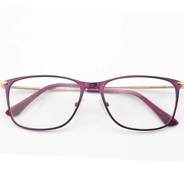 Mujeres hermosas Purple Metal Eye Glasses Frames Vintage Eyewear Mujeres anteojos Ultralight Slim Legs