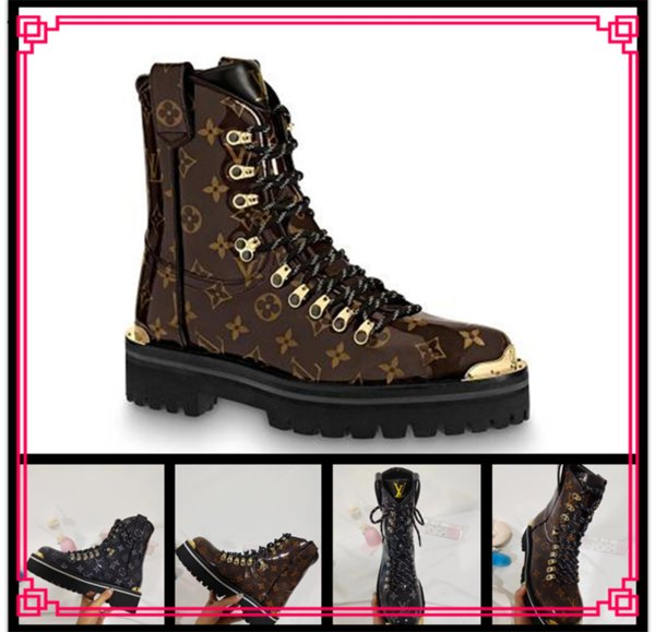 New Luxury Brand Womens Ankle Martin Boots Square Heel Platform Knight Motorcycle Cow Leather Boots Size 35-45