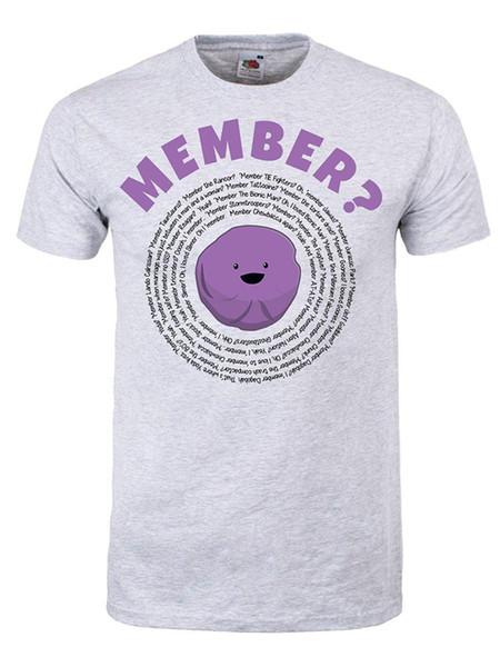 Erkekler Hatırlıyorum Üye Meyveleri T-shirt Gri Kısa Kollu Pamuk moda Ücretsiz Kargo Erkek Tasarlanma T Gömlek Üst Tee Artı Boyutu