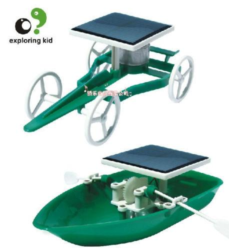 Candice guo plastic toy exploring kid creat model scientific experiment game green funny solar power ship car birthday gift 1set