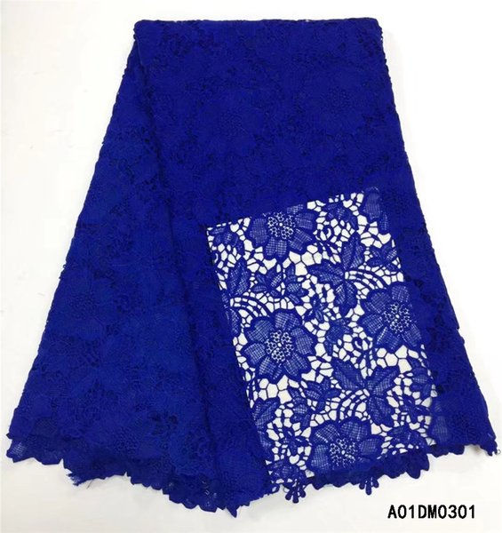Wholesale 2018 High quality Water soluble Cord Embroidery African Guipure lace fabric blue color Swiss chemical Lace fabric A01DM03