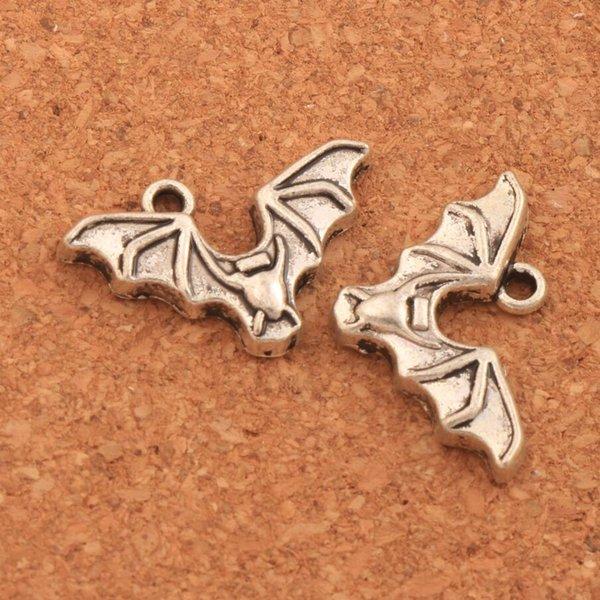 Antiker silberner Schläger mit offenen Flügeln Spacer Charm Beads 200pcs / lot Anhänger Legierung handgemachten Schmuck DIY L979 15.8x23.9mm