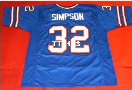Men Front and back mesh fabric BLUE OJ SIMPSON High quality full embroidery College Jersey sz s-4XL or custom any name or number jersey