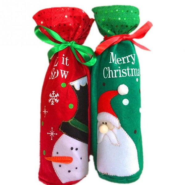Christmas Decoration For Home Red Wine Bottle Santa Claus Snowman Covers Clothes enfeites de natal