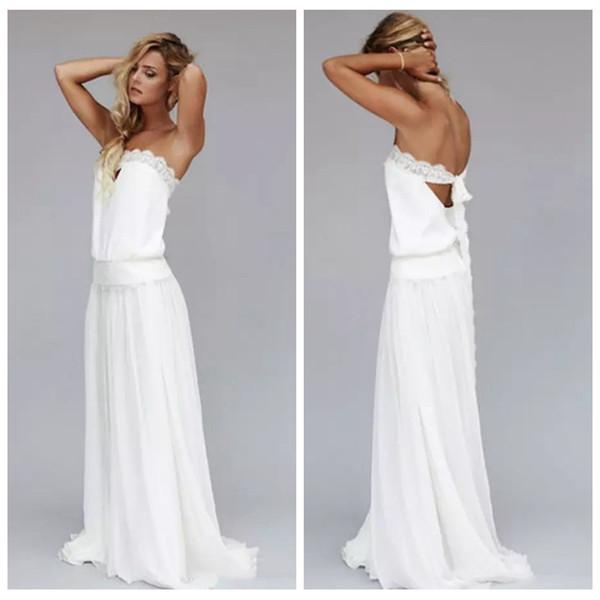 Discount 2018 Vintage Dresses Beach Wedding Dress Chiffon Dropped ...