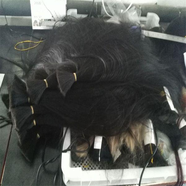 100% человеческих волос плетение навалом прямая волна нет утка монгольский волос навалом натуральный черный цвет 4 шт. много
