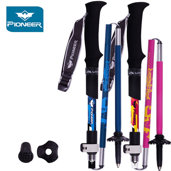 2pcs/lot 1 pair nordic walking poles trekking hiking sticks carbon fiber aluminum adjustable hiking walking sticks pioneer