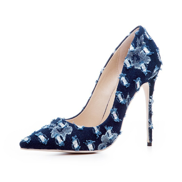 newest gladiator shoes women sexy pumps summer denim mixed colors pointed toe high heels pumps stiletto singel shoes plus size