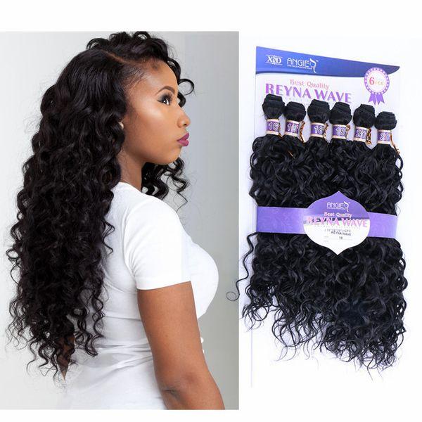 Extension de cheveux de vague d'eau naturelle 6bundles / pack profond cheveux bouclés tissés noir brun crépus bouclés tissage synthétique tissage de cheveux16-20