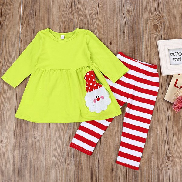 Baby Girl Christmas Suits Santa Claus Patchwork Long Sleeve Striped Top Pants Outfits Spring Clothing sets Sister 3-8T