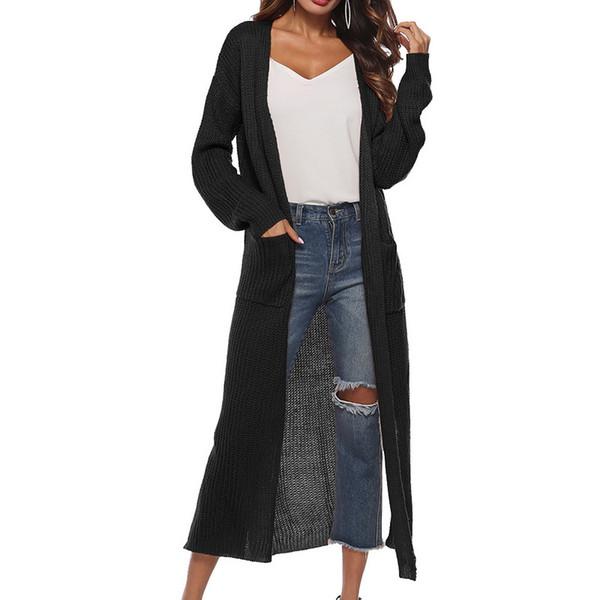 LAAMEI Uzun Hırka Kadınlar Sonbahar 2018 Moda Uzun Örme Kazak Kadın Boy Üstleri Güz Casual Siyah Ceket Bölünmüş Giyim