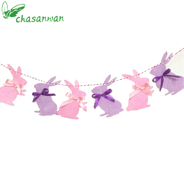 Party Decoration 3M Cute Bunny Garland Children Favors Rabbits Cloth Banner Happy Birthday Party Decorations Easter Home Decor,Q