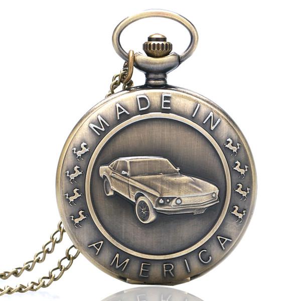 Antike Bronze Quarz Taschenuhr Auto Muster Geschenk für Männer Frauen