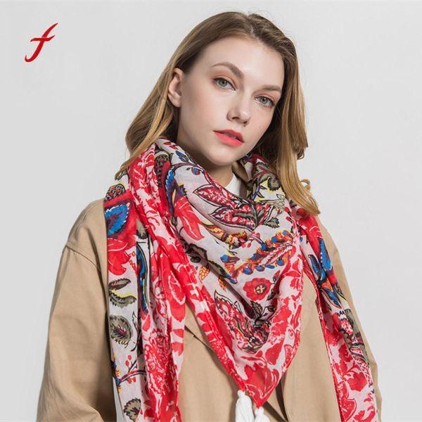 Bufanda cuadrada de las mujeres de la manera Bufandas femeninas de la borla de la borla de la muchacha impresa Chales Bufanda nueva llegada drroping