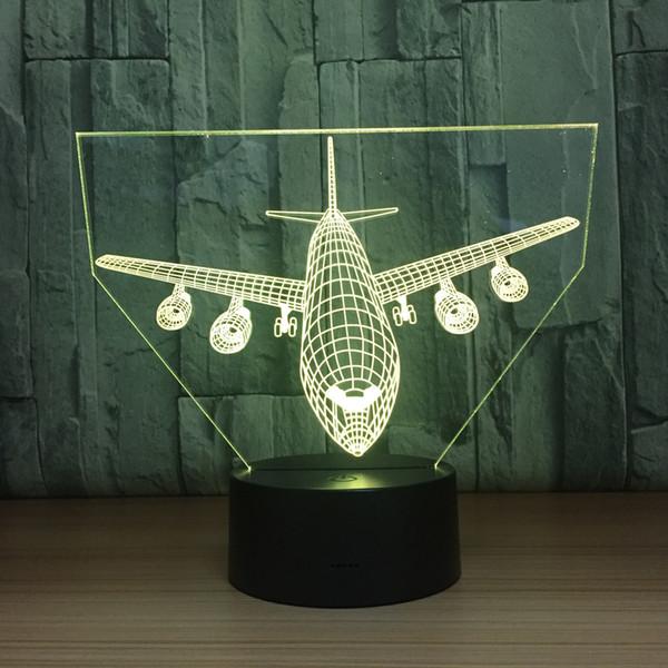 2018 Big Plane 3D Optical Illusion Lamp Night Light DC 5V USB Charging AA Battery Wholesale Dropshipping Free Shipping