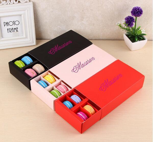 Macaron Box hält 12 Hohlraum 20 * 11 * 5 cm Lebensmittelverpackungen Geschenke Papier Party Boxen für Bäckerei Cupcake Snack Candy Keks Muffin Box