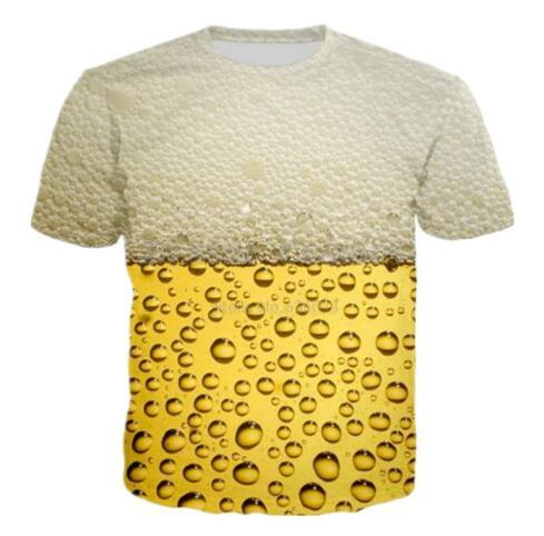 Design Drinks Beer 3D Graphic Print Casual Short Sleeve T Shirt Fashion Women/men Summer Funny T Shirts Hip Hop Quick Dry Tops Tees