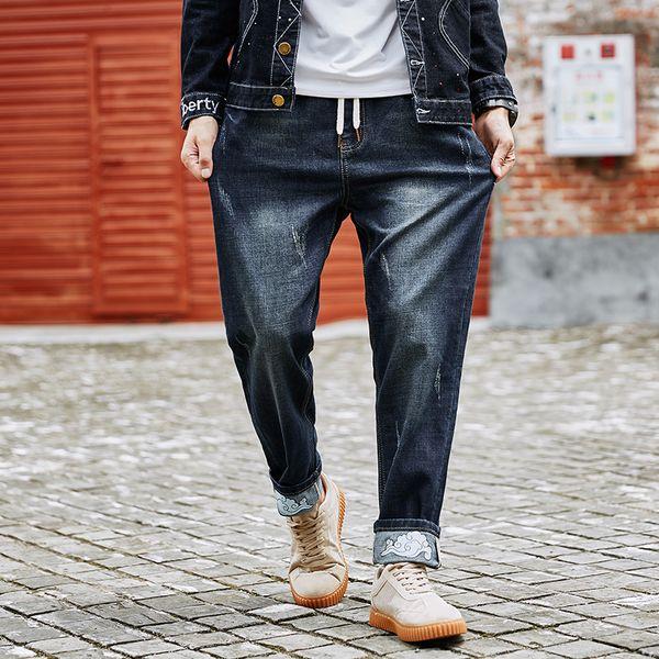 Mens Jeans Fashion Style Spring Elastic Waist Blue Slim Drawstring Jeans Man Casual Denim Harem Pants Large Big Size M-7XL 8XL