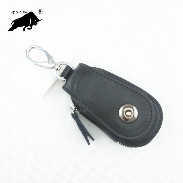 Vintage Cowhide Genuine Leather Key Wallet Women Men Keychain Covers Zipper Key Case Bag Holder Housekeeper