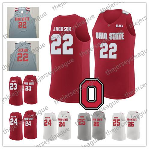 Ohio State Buckeyes #22 Jim Jackson 23 LeBron James 24 Andre Wesson 25 Kyle Young White Grey Stitched NCAA College Basketball Jerseys