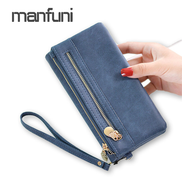 Wristlet Long Wallet Women Purse Fashion PU Leather Zipper High Capacity Wallets For Phone Bag Ladies Clutch Wallets Card Holder