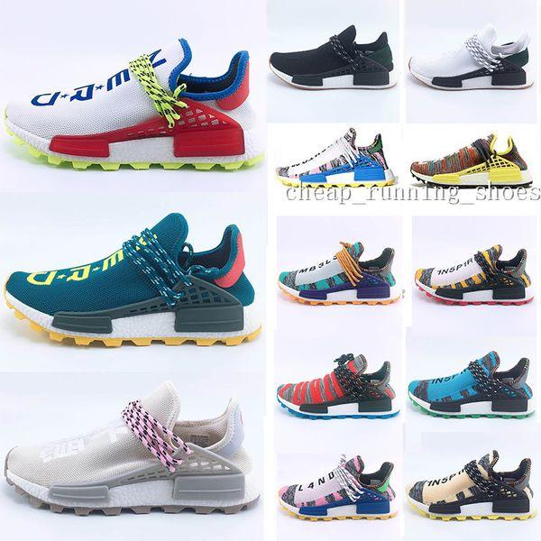 New Aqua Creme x NERD Solar PacK Human Race Running Shoes pharrell williams Afro Hu trail trainers Men Women Sports Trainer Runner sneakers