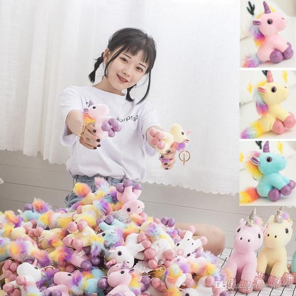 Mini Unicorn Plush Doll Animals Stuffed Toys Pendant For Keychain Phone Handbag Christmas Birthday Gift Party Favor HH7-1774