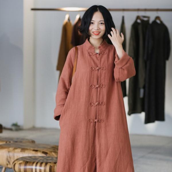 Automne Designer Classique Femmes Longs Manteaux Surdimensionné Solide Huit Boutons Boucle Coupe-Vent Casual Outwear Veste