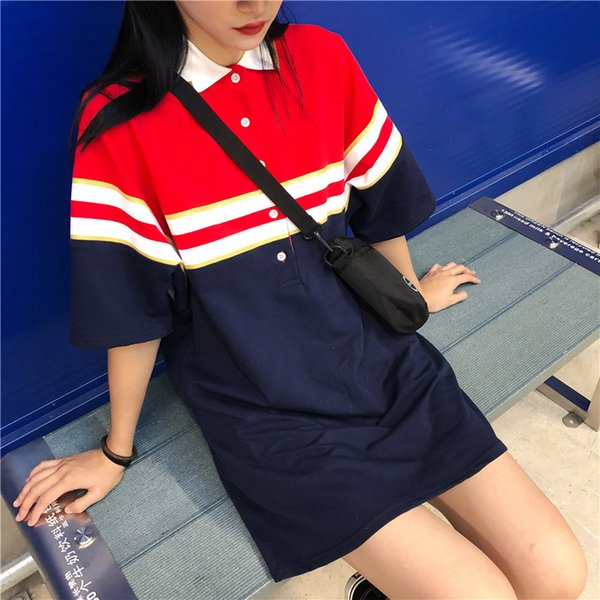 Free Shipping Summer Women's T-Shirt Color Matching Design Polo Collar Top Long Loose Short-Sleeved T-Shirt Female Dress