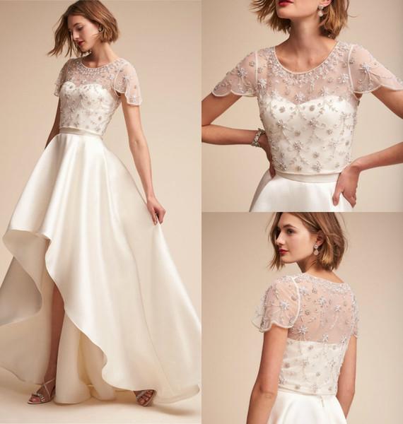 Vestido De Noiva Casamento Elegante Bhldn 2018 Vestidos De Noiva Com Envoltório Assimétrico Uma Linha De Vestidos De Noiva Simples Espaguete Com