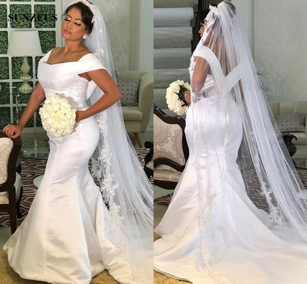 Sirena satinado vestido de novia elegante simple largo vestidos de novia 2019 Sweep Train Off hombro vestido de matrimonio Vestido Madre De La Novia