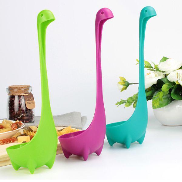 Creative Plastic Soup Spoon Cute Cartoon Nessie Spoon Medium Ladle Soup Kitchen Utensils Cooking Tools 24*7.5*3.5cm