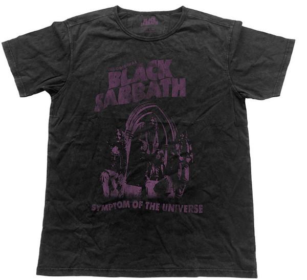 Black Sabbath 'Симптом Вселенной' Vintage Look Футболка - НОВЫЙ ОФИЦИАЛЬНЫЙБесплатная бесплатная доставка Унисекс Повседневная футболка подарок