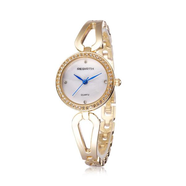 Steel belt table full diamond round dial blue pointer fashion quartz rose gold watch