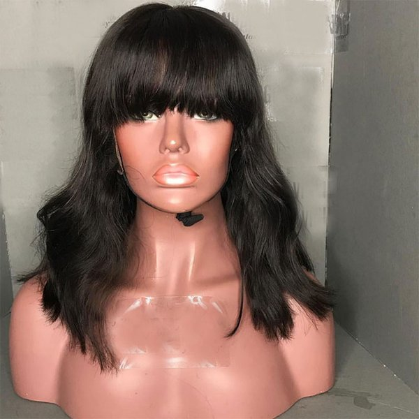 pre plucked natural wave full lace human hair bob wigs with bangs 150% density lace front wigs short bob cut for black women