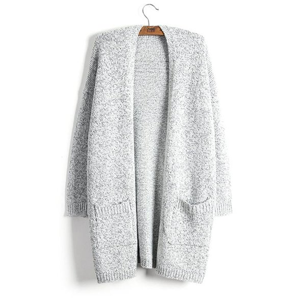 Kazak Kadın Ceket Moda Sonbahar Kış Kalın Sıcak Hırka Tutmak Yeni Lady Kazak Gri Uzun Tarzı Örgü Katı Cep Boy 5XL